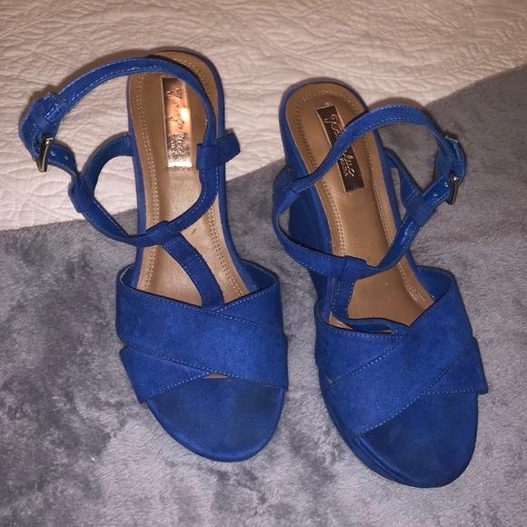 Zara Royal Blue Suede Wedges